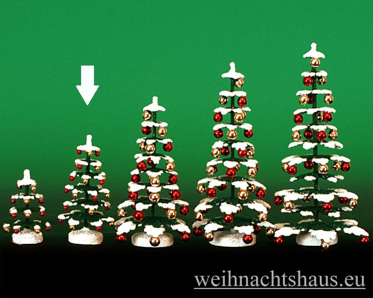 Seiffen Weihnachtshaus - Puppenstuben Baum grün mit Schnee und Kugeln ca. 8cm - Bild 1