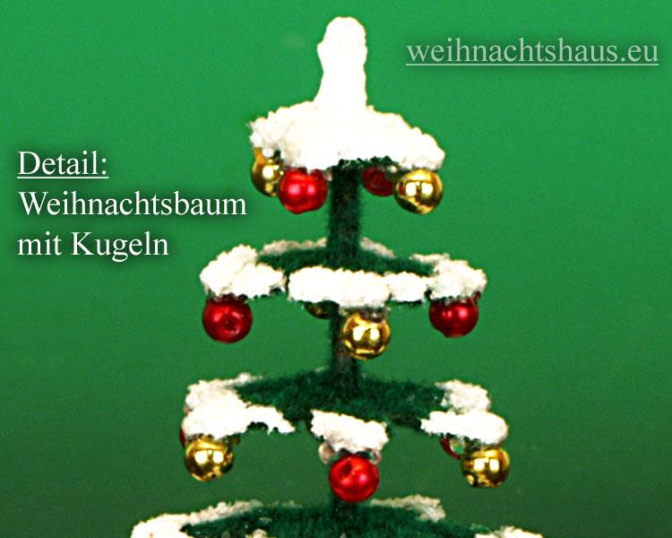 Seiffen Weihnachtshaus - Puppenstuben Baum grün mit Schnee und Kugeln ca. 8cm - Bild 2