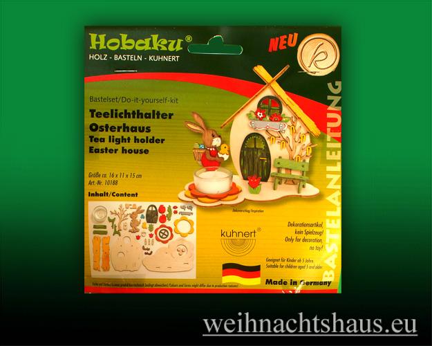 Seiffen Weihnachtshaus - Bastelsatz Erzgebirge  Teelichthalter Osterhaus - Bild 1