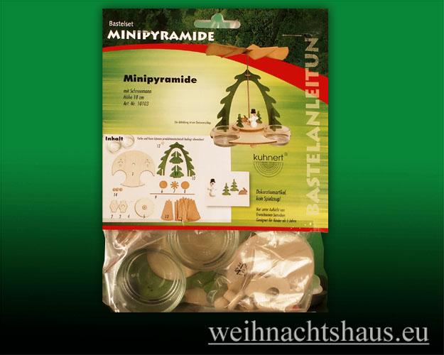 Seiffen Weihnachtshaus - Bastelsatz Erzgebirge Pyramide mit Schneemann - Bild 1