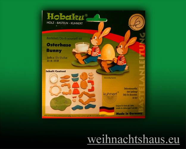 Seiffen Weihnachtshaus - Bastelsatz Erzgebirge  Teelichthalter Osterhase Bunny - Bild 1