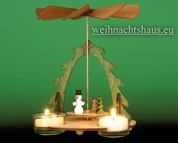 Seiffen Weihnachtshaus - Bastelsatz Erzgebirge Pyramide mit Schneemann - Bild 2