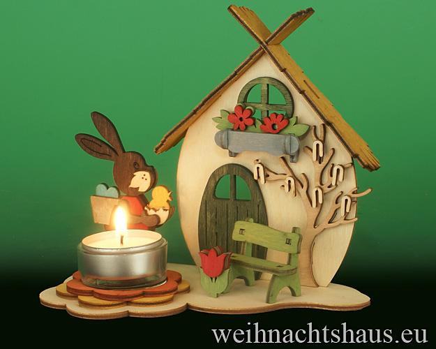 Seiffen Weihnachtshaus - Bastelsatz Erzgebirge  Teelichthalter Osterhaus - Bild 2