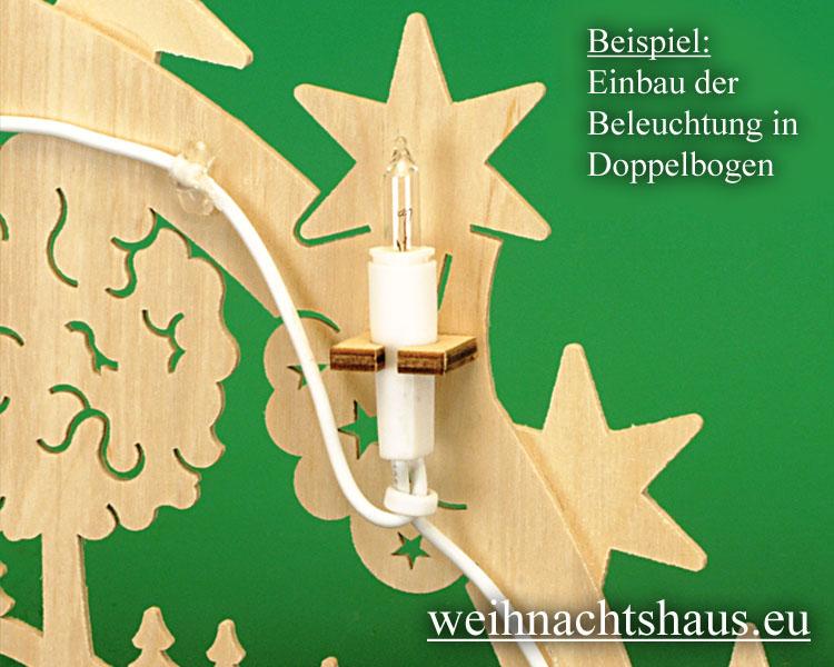Seiffen Weihnachtshaus - Doppelschwibbogenbeleuchtung LED 20 Kerzen Ersatzkerzen - Bild 2