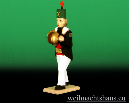 Seiffen Weihnachtshaus - Bergmann geschnitzt aus Holz mit Becken - Bild 1