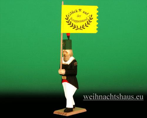 Seiffen Weihnachtshaus - Bergmann geschnitzt aus Holz mit Fahne - Bild 1