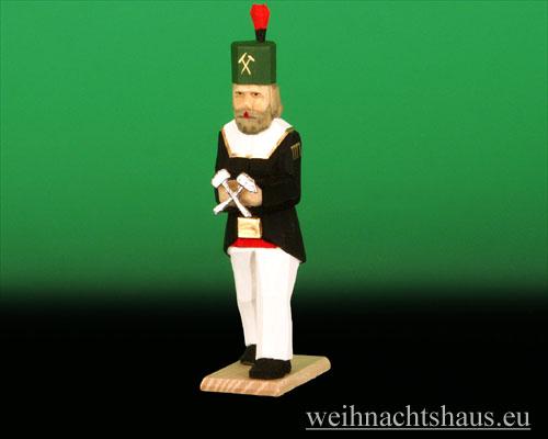 Seiffen Weihnachtshaus - Bergmann geschnitzt aus Holz mit Wappen - Bild 1