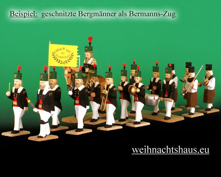 Seiffen Weihnachtshaus - Bergmann geschnitzt aus Holz,  Hauer hockend - Bild 2