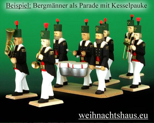 Seiffen Weihnachtshaus - Bergmann geschnitzt aus Holz mit Waldhorn - Bild 3