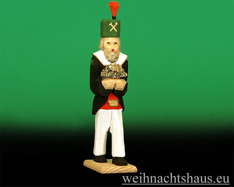 Seiffen Weihnachtshaus - Bergmann geschnitzt aus Holz mit Erzstein - Bild 1