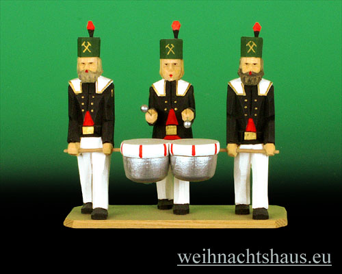 Seiffen Weihnachtshaus - Bergmann geschnitzt aus Holz mit Kesselpauke - Bild 1