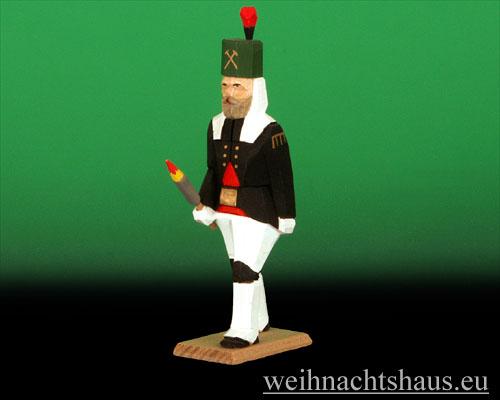 Seiffen Weihnachtshaus - Bergmann geschnitzt aus Holz mit Fackel - Bild 1