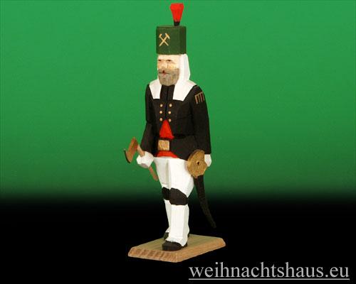 Seiffen Weihnachtshaus - Bergmann geschnitzt aus Holz, mit Hacke und Säbel - Bild 1