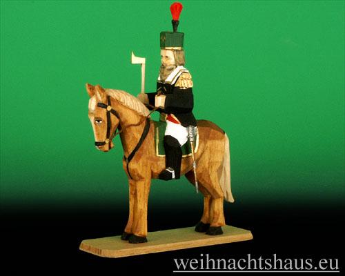 Seiffen Weihnachtshaus - Bergmann geschnitzt aus Holz auf Pferd - Bild 1