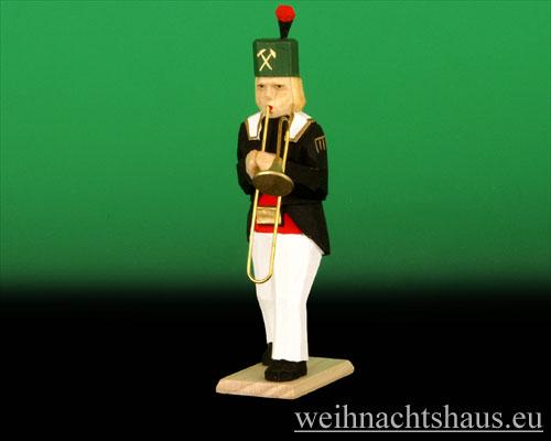 Seiffen Weihnachtshaus - Bergmann geschnitzt aus Holz mit Zugposaune - Bild 1