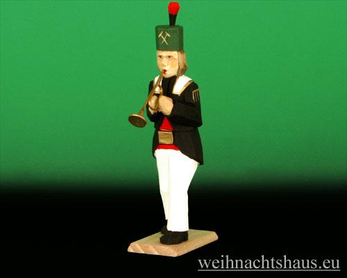 Seiffen Weihnachtshaus - Bergmann geschnitzt aus Holz mit Trompete - Bild 1