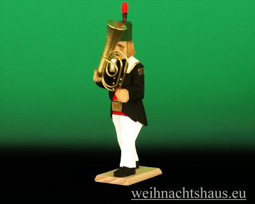 Seiffen Weihnachtshaus - Bergmann geschnitzt aus Holz mit Tuba - Bild 1