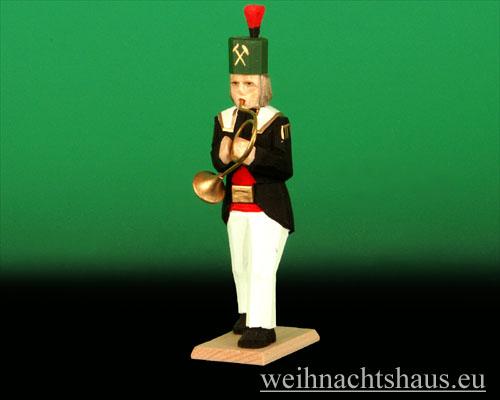 Seiffen Weihnachtshaus - Bergmann geschnitzt aus Holz mit Waldhorn - Bild 1