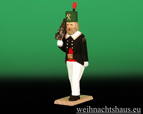 Seiffen Weihnachtshaus - Bergmann geschnitzt aus Holz mit Erzschale - Bild 1