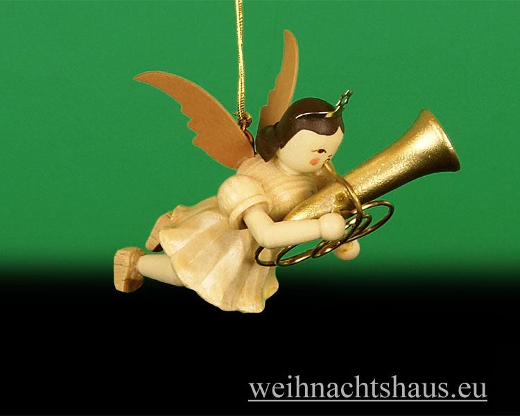 Seiffen Weihnachtshaus - Schwebeengel natur Tuba Blank - Bild 1