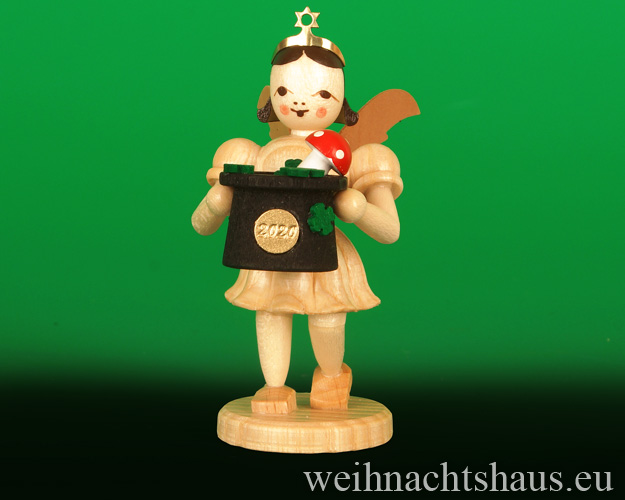 Seiffen Weihnachtshaus - Kurzrockengel       natur    Jahresengel 2020 Blank Neuheit 2020 Glücksbringer - Bild 1
