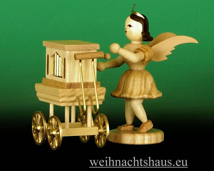 Seiffen Weihnachtshaus - Kurzrockengel natur  Drehorgel Blank Neuheit  2013 - Bild 2