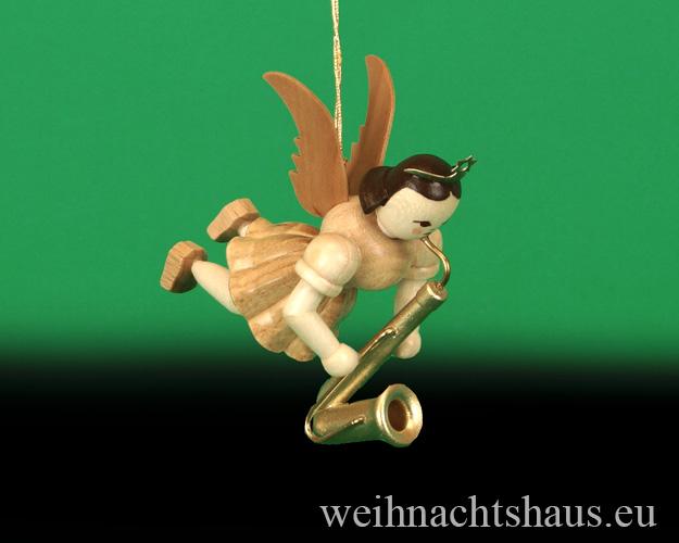Seiffen Weihnachtshaus - Schwebeengel natur Saxophon Blank - Bild 1