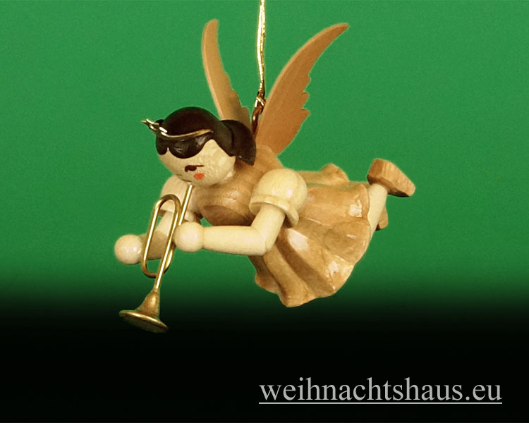 Seiffen Weihnachtshaus - Schwebeengel natur Trompete Blank - Bild 1