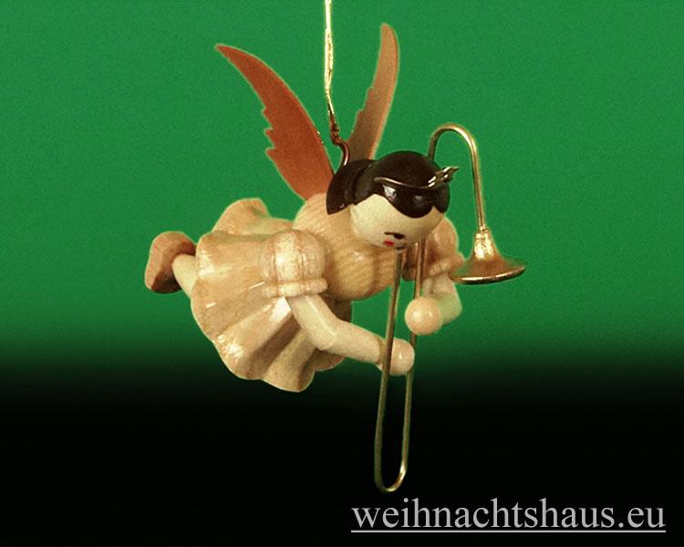 Seiffen Weihnachtshaus - Schwebeengel natur Zugposaune Blank - Bild 1