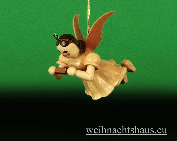 Seiffen Weihnachtshaus - Schwebeengel natur Mundharmonika Blank - Bild 1