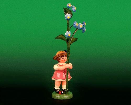 Seiffen Weihnachtshaus - Sommerhutblumenmädchen 11 cm Vergißmeinnicht - Bild 1