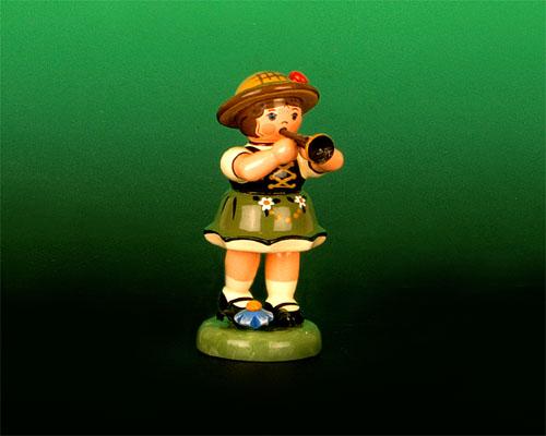 Seiffen Weihnachtshaus - Sommerhutmusikant Mädchen 6,5 cm Klarinette - Bild 1