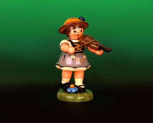 Seiffen Weihnachtshaus - Sommerhutmusikant Mädchen 6,5 cm Geige - Bild 1
