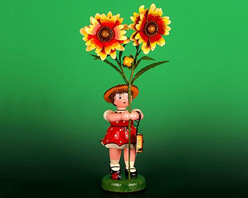 Seiffen Weihnachtshaus - Hubrig Blumenkind Mädchen 24cm Stockrose Neuheit 2014 - Bild 1