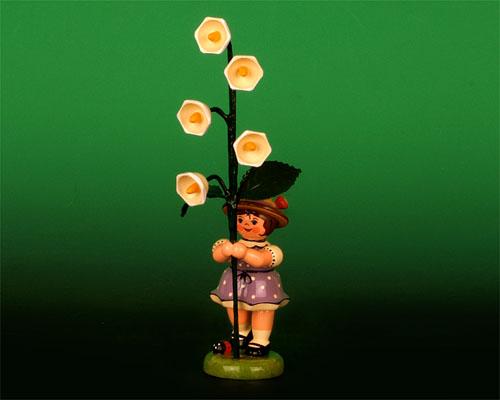 Seiffen Weihnachtshaus - Sommerhutblumenmädchen 11 cm Maiglöckchen - Bild 1