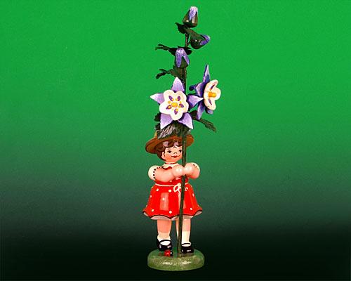 Seiffen Weihnachtshaus - Sommerhutblumenkind Mädchen 17 cm Akelei - Bild 1