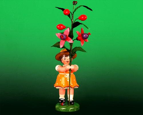 Seiffen Weihnachtshaus - Sommerhutblumenkind Mädchen 17 cm Fuchsie - Bild 1