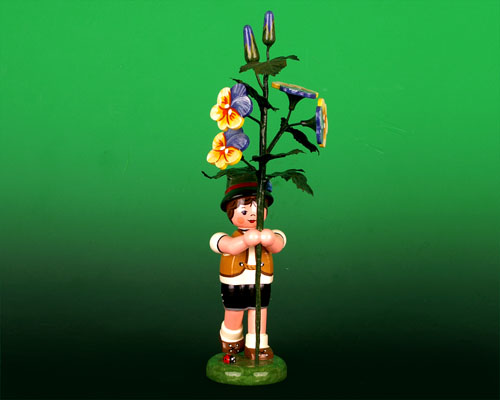 Seiffen Weihnachtshaus - Sommerhutblumenkind Junge 17cm Hornveilchen - Bild 1