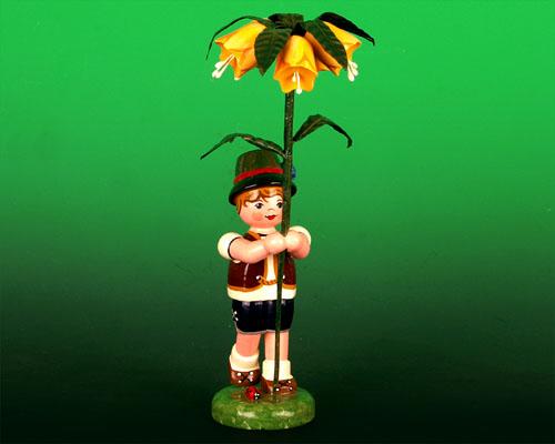 Seiffen Weihnachtshaus - Sommerhutblumenkind Junge 17cm Kaiserkrone - Bild 1
