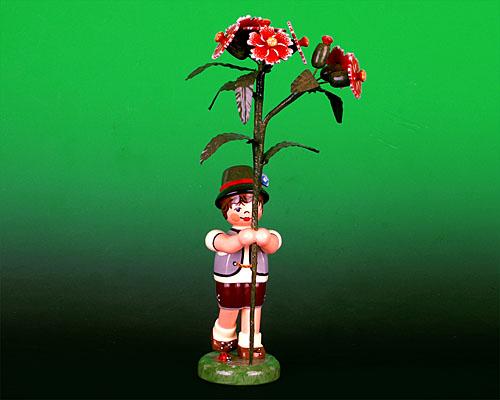 Seiffen Weihnachtshaus - Sommerhutblumenkind Junge 17cm Buschnelke - Bild 1