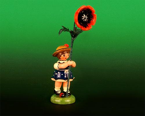 Seiffen Weihnachtshaus - Sommerhutblumenmädchen 11 cm Mohnblume - Bild 1