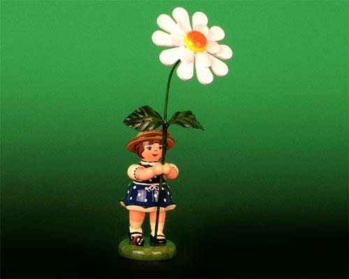 Seiffen Weihnachtshaus - Sommerhutblumenmädchen 11 cm Margerite - Bild 1
