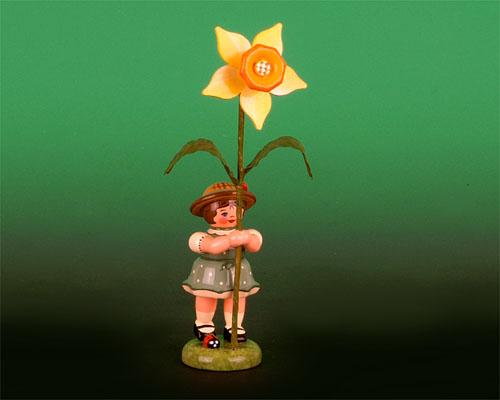 Seiffen Weihnachtshaus - Sommerhutblumenmädchen 11 cm Narzisse - Bild 1