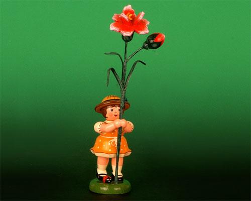 Seiffen Weihnachtshaus - Sommerhutblumenmädchen 11 cm Nelke - Bild 1