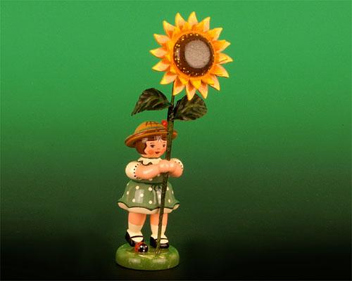 Seiffen Weihnachtshaus - Sommerhutblumenmädchen 11 cm Sonnenblume - Bild 1