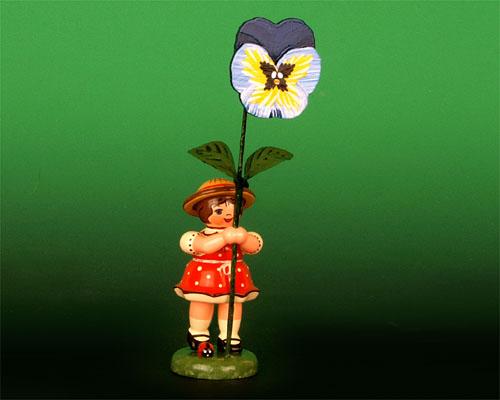 Seiffen Weihnachtshaus - Sommerhutblumenmädchen 11cm Stiefmütterchen - Bild 1