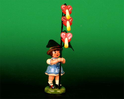 Seiffen Weihnachtshaus - Sommerhutblumenmädchen 11 cm Tränendes Herz - Bild 1
