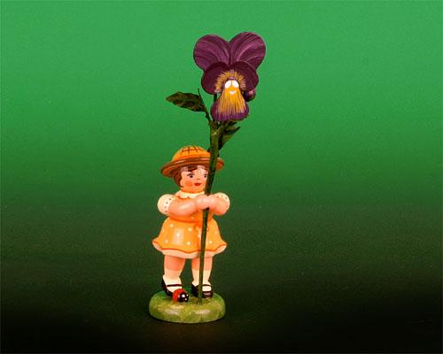 Seiffen Weihnachtshaus - Sommerhutblumenmädchen 11 cm Veilchen - Bild 1
