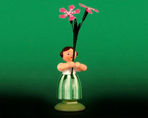 Seiffen Weihnachtshaus - Wiesenblumenkind 11cm Wiesennelke - Bild 1