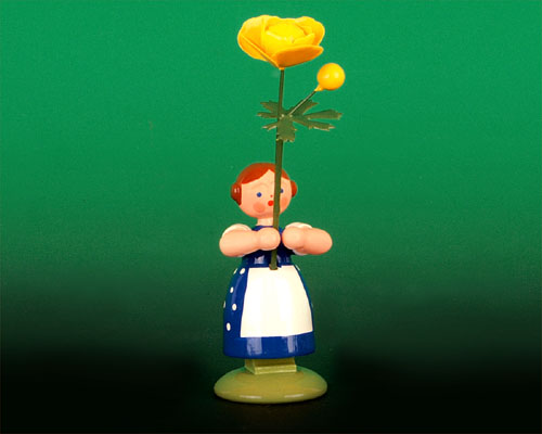 Seiffen Weihnachtshaus - Wiesenblumenkind 11cm Trollblume - Bild 1